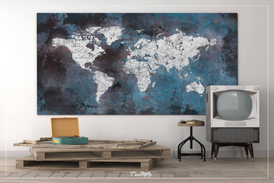 World Map Push Pin Large Dark Blue World Map CANVAS Print Map Rustic Old Watercolor Wall Decor Large World Map Christmas Travel Gift-1136 - CocoMilla