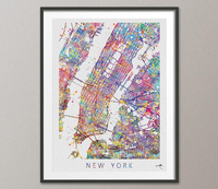 New York City Map United States Watercolor illustrations Art Print Wall Wedding Gift Wall Decor Art Home Decor Wall Hanging [NO 578] - CocoMilla