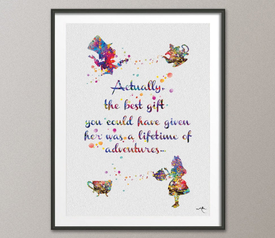 Alice and Mad Hatter Quote Watercolor Print Wedding Gift Fine Art Print Wall Art Nursery Decor Art Home Decor Wall Hanging [NO 499] - CocoMilla