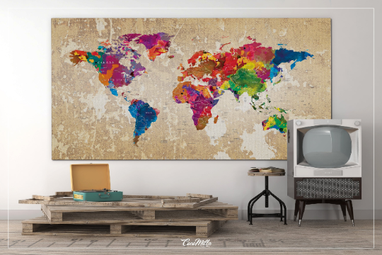 World Map Push Pin Large World Map CANVAS Print Map Travel Gift Rustic Old Watercolor World Map Wall Decor Large World Map Christmas-1106 - CocoMilla