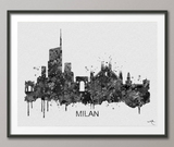 Milan Skyline, Milan Art, Milan Watercolor Print, Italy Art Print, Wedding Gift, Travel Wall Decor, Milan Art, Black White, Wall Hanging-902 - CocoMilla