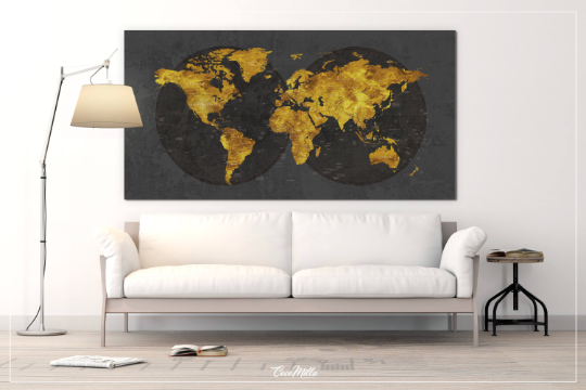 World Map CANVAS Print Extra Large World Art Push Pin Travel Map Rustic Gold Effect World Map Antiques Map Wanderlust Pushpin Trawel-1235 - CocoMilla