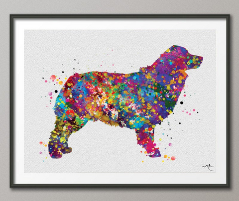 Australian Shepherd Watercolor Print Dog Print Pet Gift Dog Love Puppy Dog Poster Dog Art Aussie Dog Customizable Animal Pet Dog Poster-506 - CocoMilla