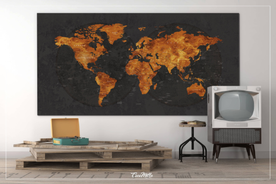World Map CANVAS Print Extra Large Copper World Art Push Pin Travel Map Rustic World Map Antiques Map Art Wanderlust Pushpin Trawel Map-1236 - CocoMilla