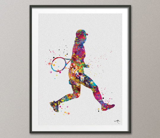 Tennis Player Girl Watercolor Print Female Tennis Gift Art Wall Art Wall Decor Girl Tennis Player Art Home Decor Girl Sport Wall Art-500 - CocoMilla