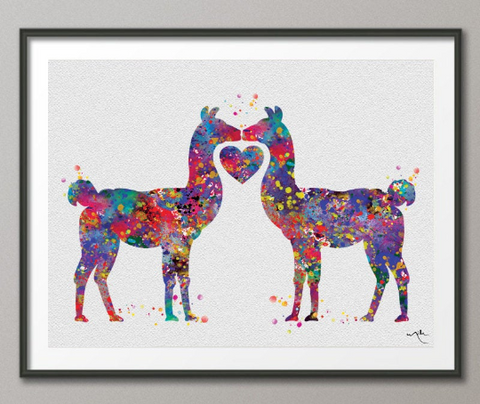 Alpaca Llama Love Watercolor Print Lama Art Print For Kids Nursery Wall Art Wall Decor Art Home Decor Wall Hanging Alpaca Art Heart -866 - CocoMilla