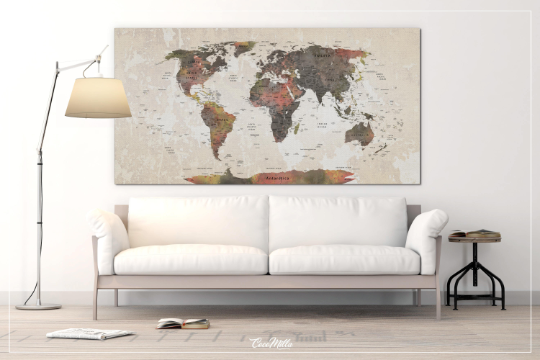 Copy of World Map Push Pin, Large world map, Decorative Push Pins, Canvas World Map, Travel Gift, Wedding Gift, Worldmap poster, Honeymoon Gift-1216 - CocoMilla