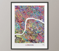London City Map Watercolor Print England United Kingdom City Street MapWall Wedding Gift Travel Poster Wall Decor Art Wall Hanging-1546 - CocoMilla