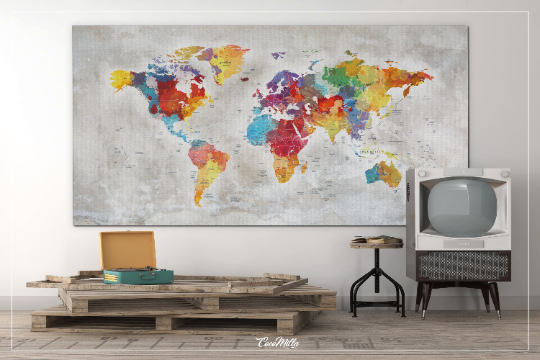 Push Pin World Map, Extra Large World Map, Canvas Print, Push Pin Travel Map, Rustic World Map, Wall Hanging, Wanderlust, Travel Love-858 - CocoMilla