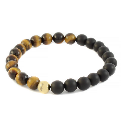 Gold Tiger eye x Onyx Bracelet