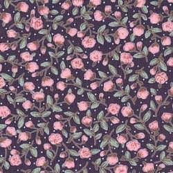 Pink Rosebuds on Navy Cotton