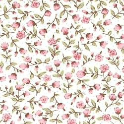 Pink Rosebuds on White Cotton
