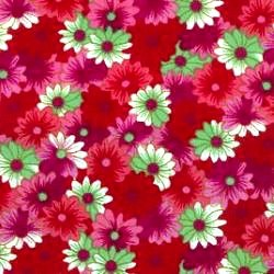 Deep Pink Daisies Cotton