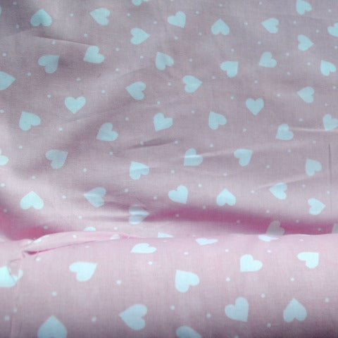 White Hearts on Pink Cotton