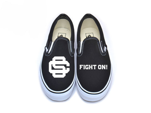 "Baseball Mark & ""Fight On"" Vans - White on Black"
