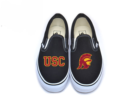 Block USC & Trojan Head Vans - Cardinal w/ Border on Black