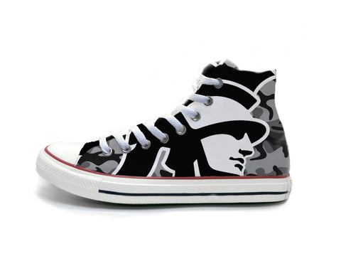 Trojan Head Black & White Camo Chucks