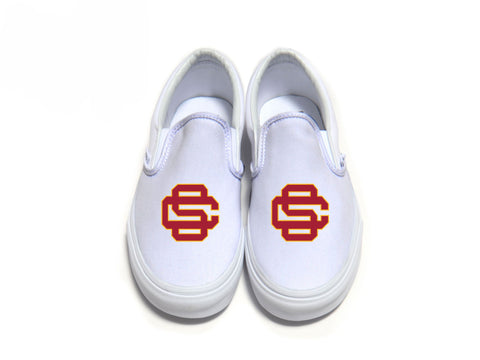 Interlocking SC Vans - Cardinal w/ Border on White