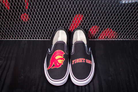 "Trojan Head ""Fight On"" Vans - Cardinal w/ Border on Black"
