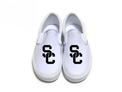 SC Interlock Sport Vans - White on Black