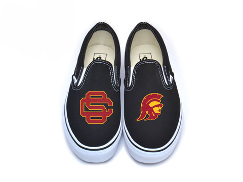 SC Interlock & Trojan Head Vans - Cardinal w/ Border on Black