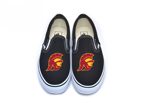 Trojan Head Vans - Cardinal w/ Border on Black