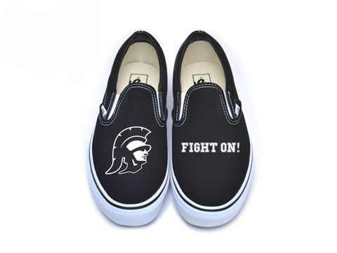 "Trojan Head ""Fight On"" Vans - White on Black"