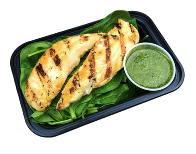 Grilled Chicken with Spinach and Pesto