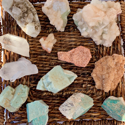 Variety of crystals in a basket