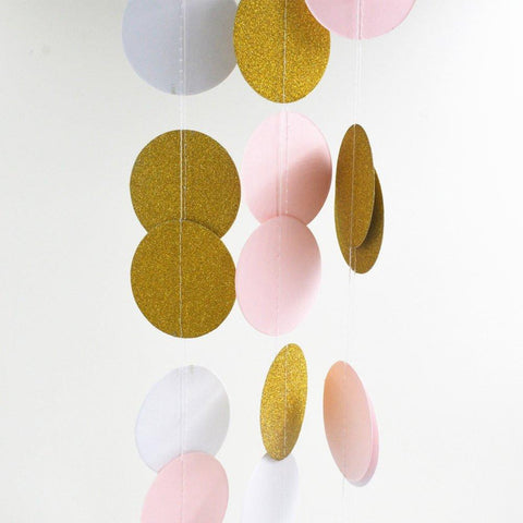 Multicolored gold and pink garlands
