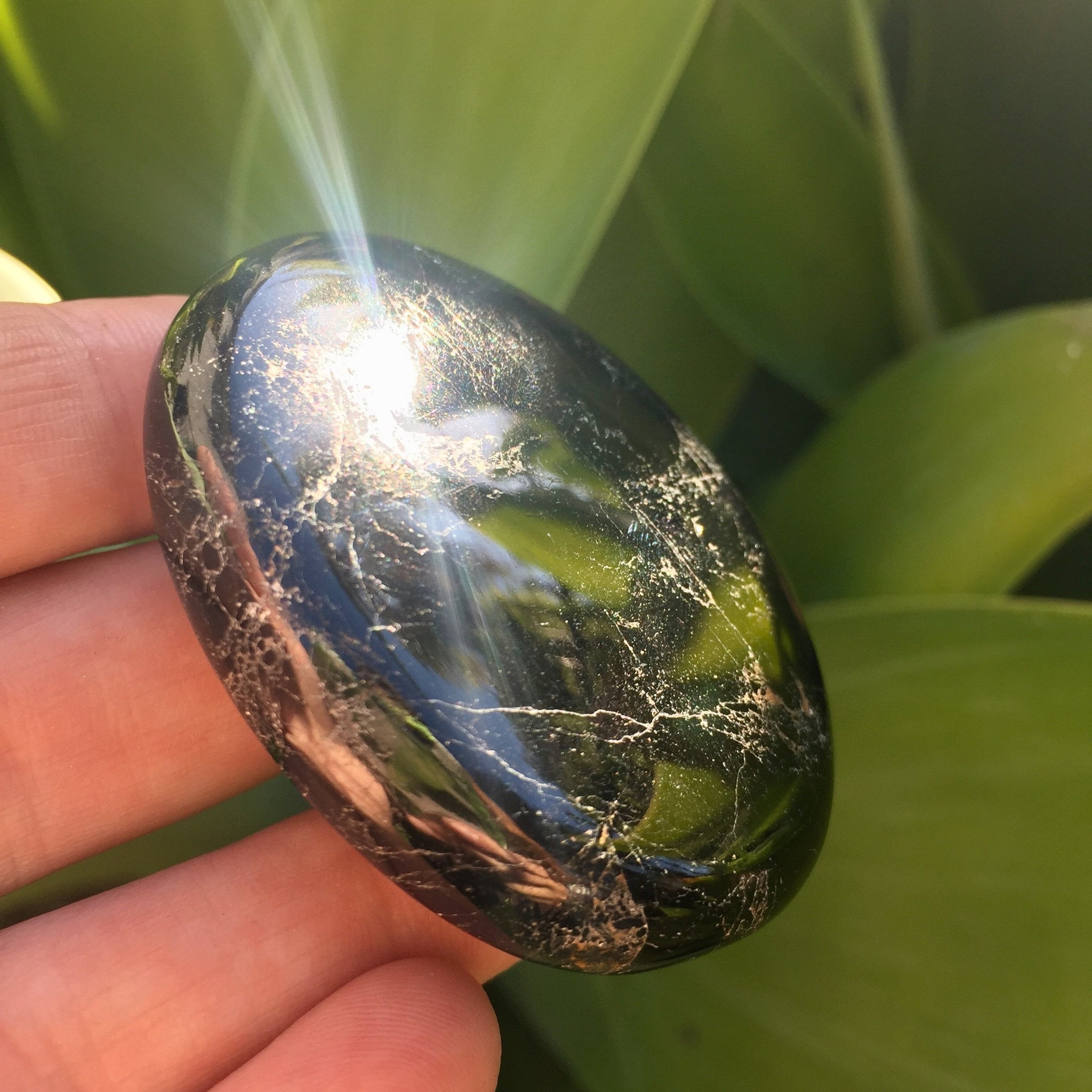 Black Tourmaline Palm Stone - Sparkle Rock Pop