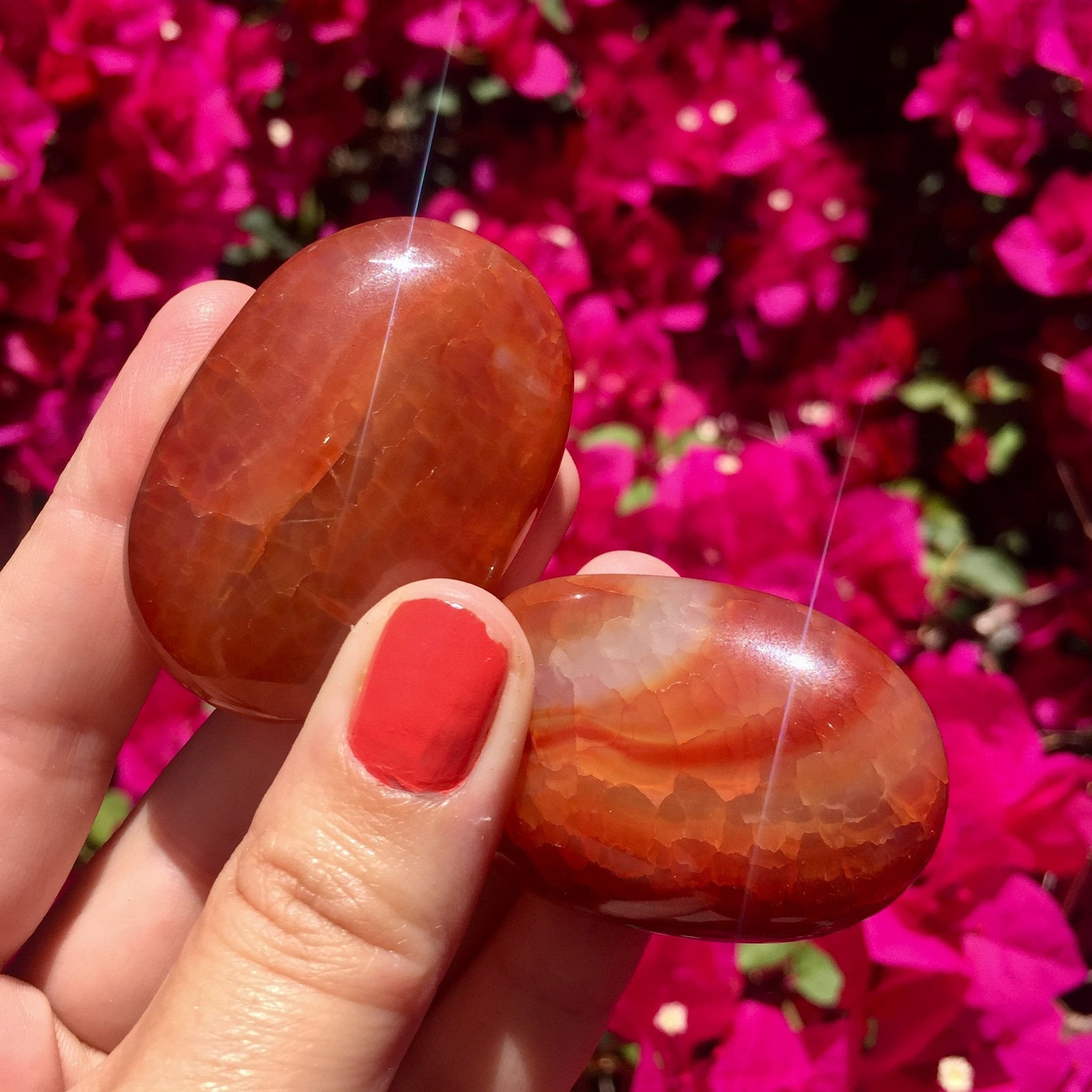 Carnelian Palm Stone - Sparkle Rock Pop
