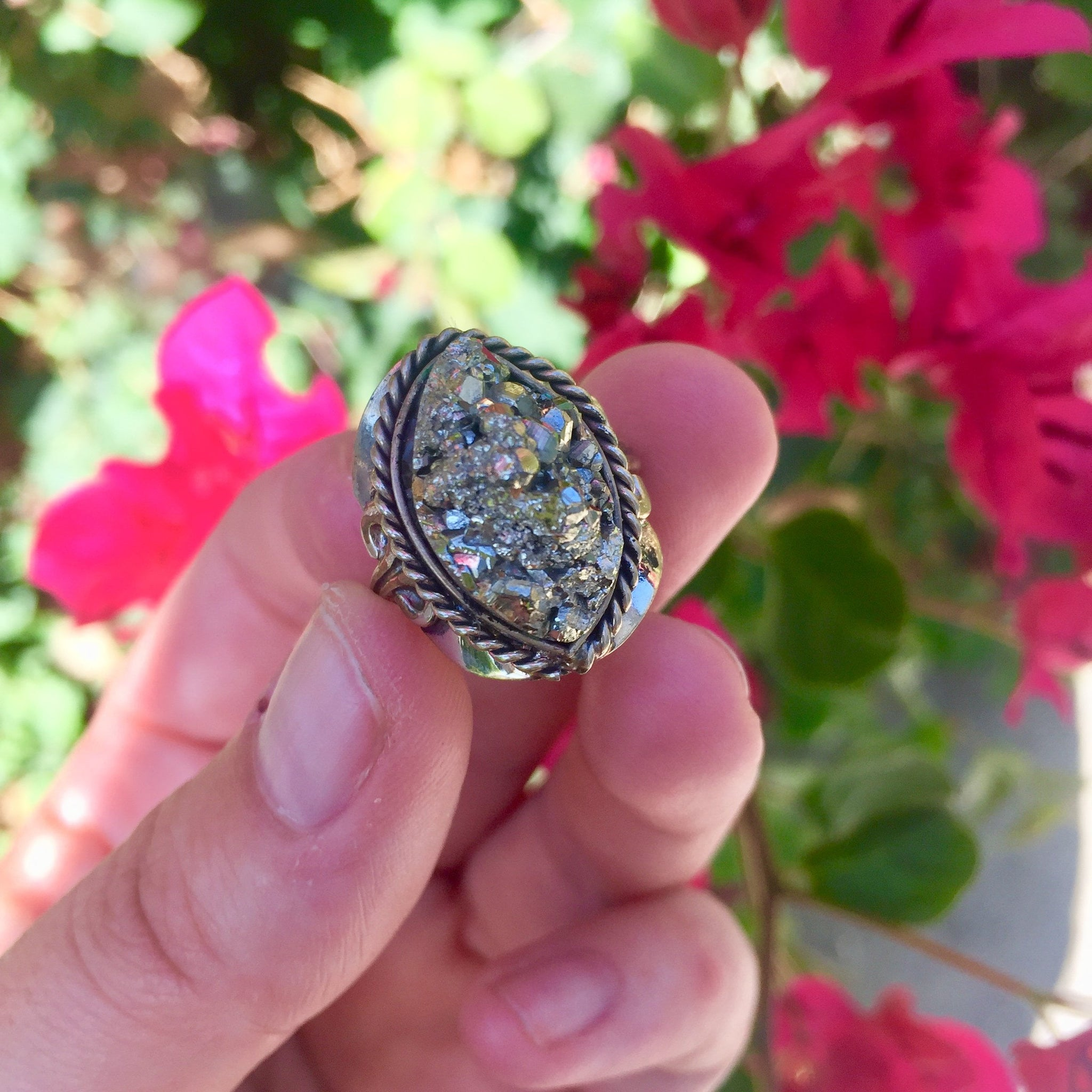 Pyrite Crystal Ring - Pointed Oval - Sparkle Rock Pop