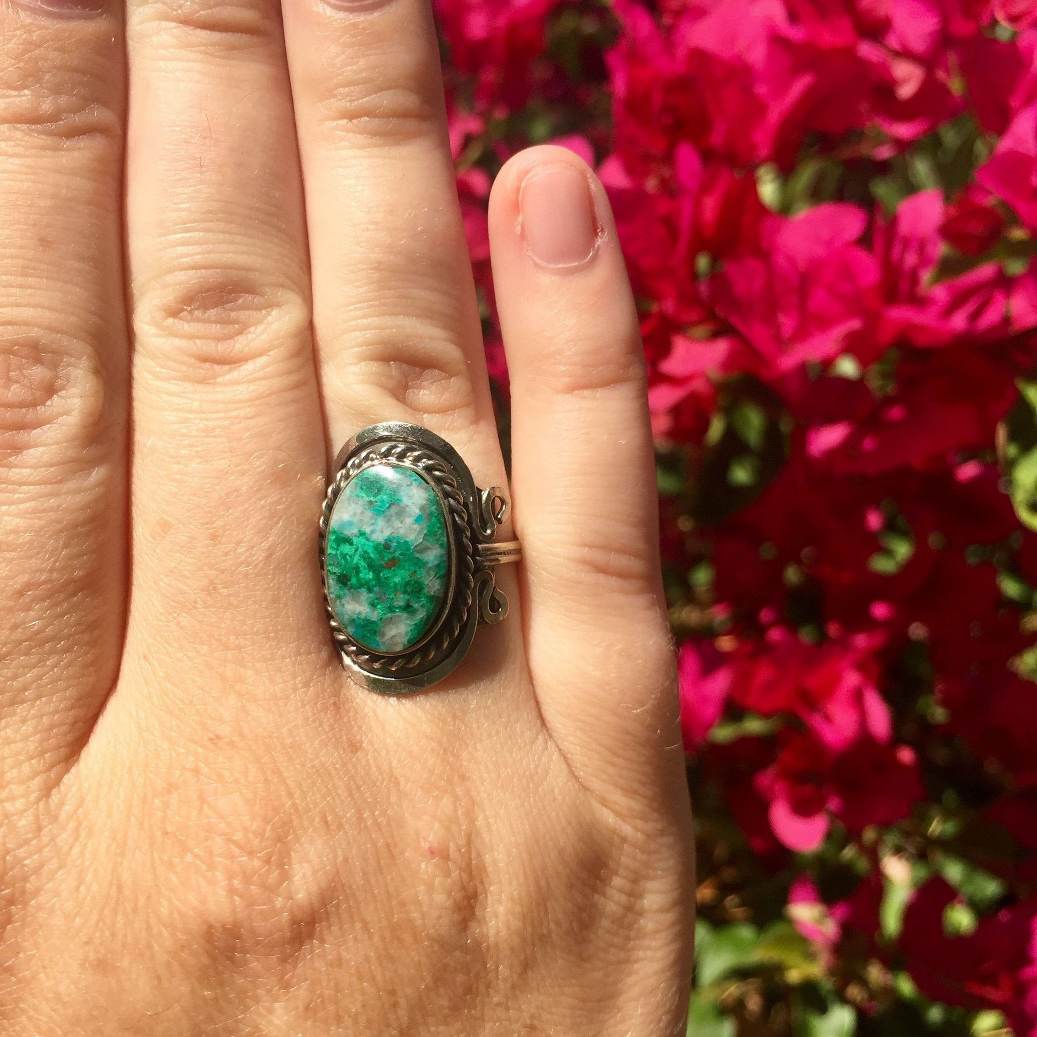 Chrysocolla Crystal Ring - Sparkle Rock Pop