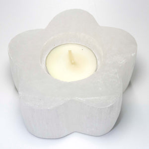 Selenite Flower Candleholder - Sparkle Rock Pop