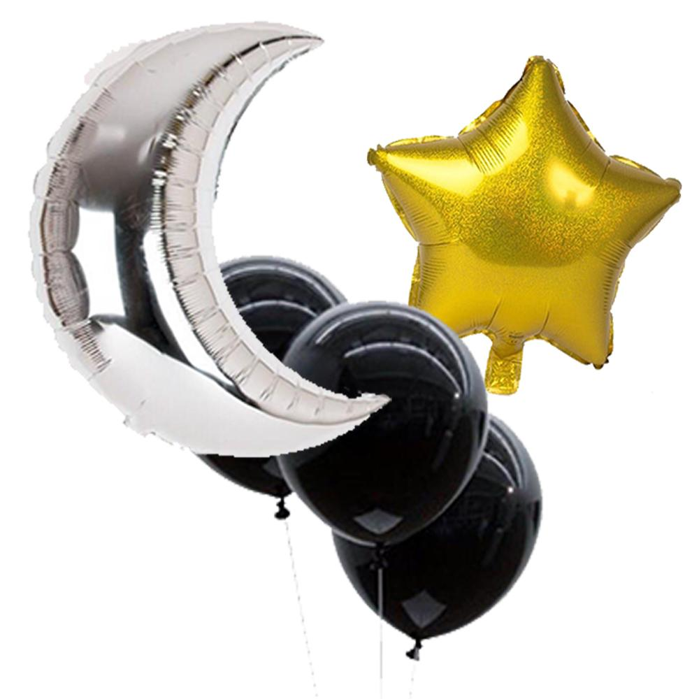 Star and Moon Balloon Party Pack (6 pieces) - Sparkle Rock Pop
