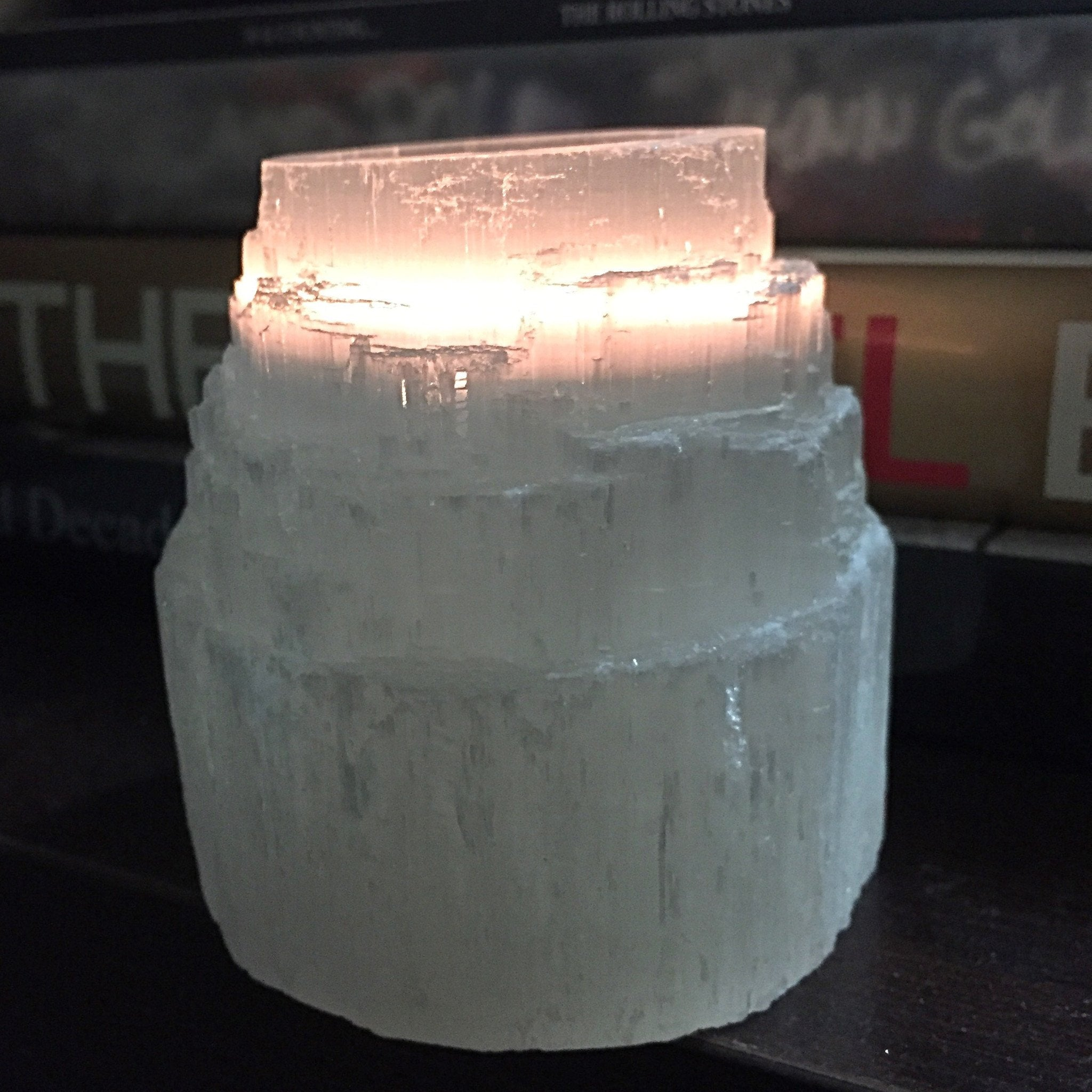 Selenite Candle Holder - Sparkle Rock Pop
