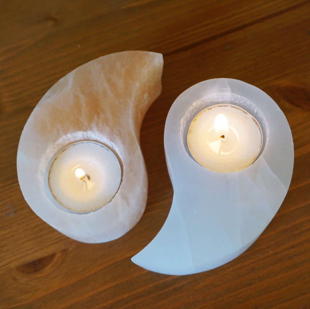 Ying Yang Selenite Candle Holder - Sparkle Rock Pop