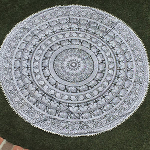 Mandala Tapestry: Black and White Pom Pom - Sparkle Rock Pop