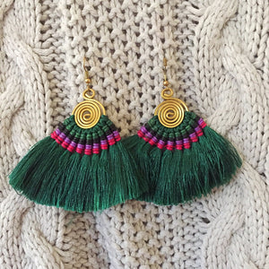 Hula Earrings - Emerald Green - Sparkle Rock Pop