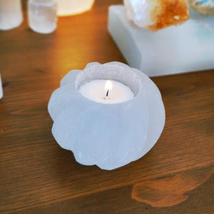 Selenite Swirl Candle Holder - Sparkle Rock Pop