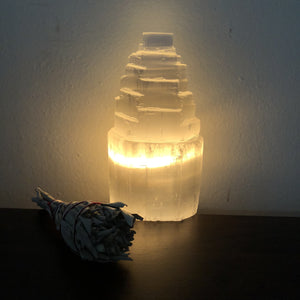 Selenite Tower Lamp - 6.25 inches tall - Sparkle Rock Pop
