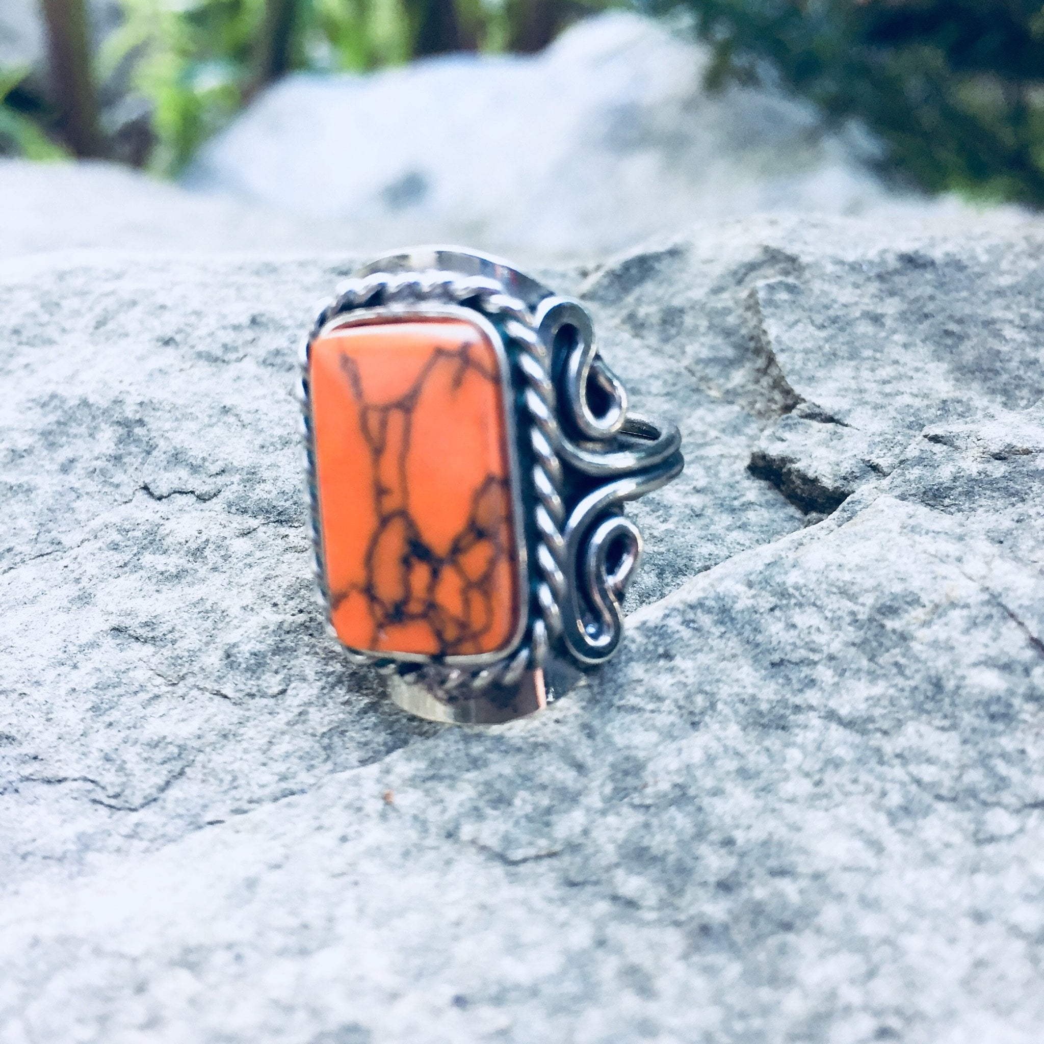 Orange Howlite Crystal Ring - Sparkle Rock Pop