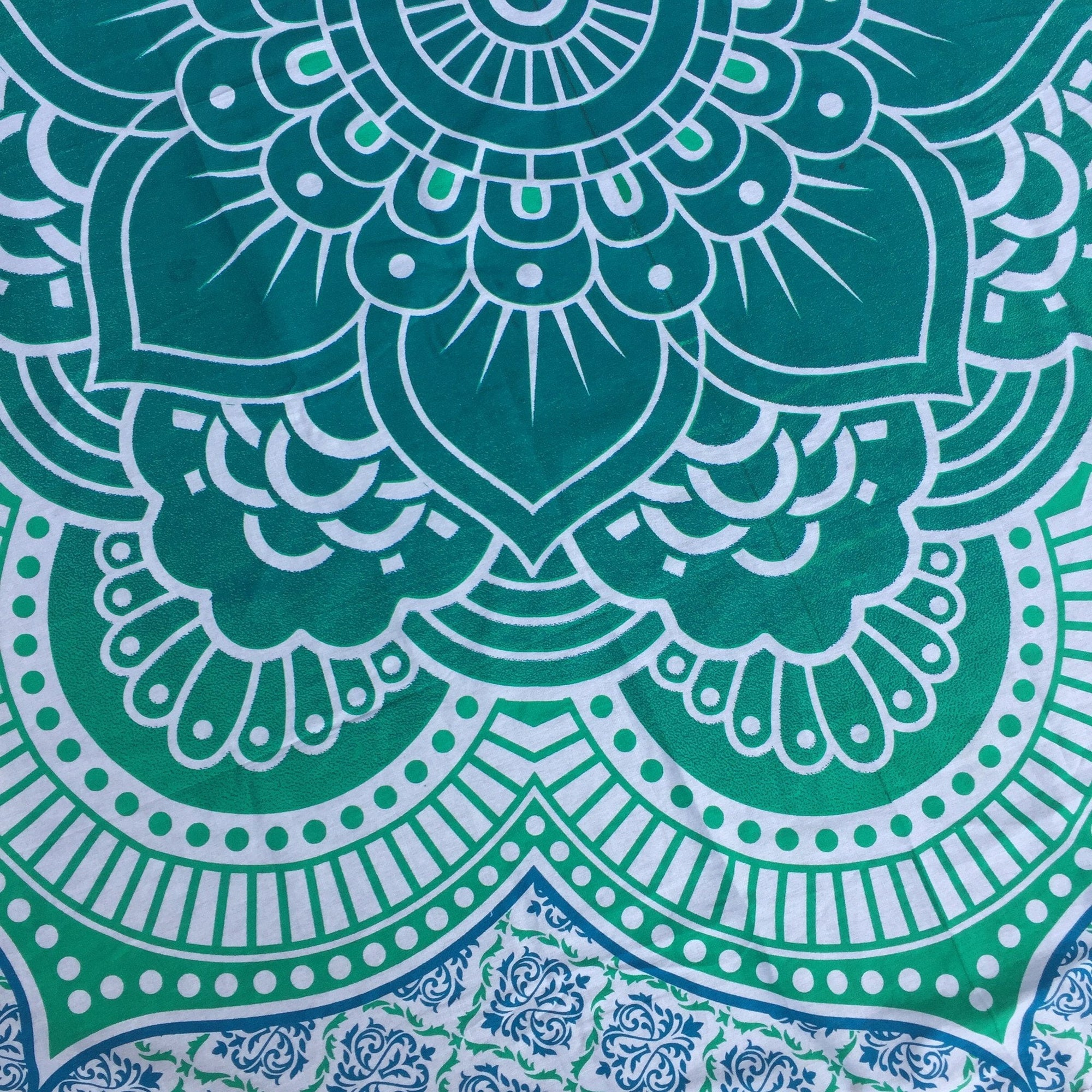 Mandala Tapestry - Teal Flower - Sparkle Rock Pop