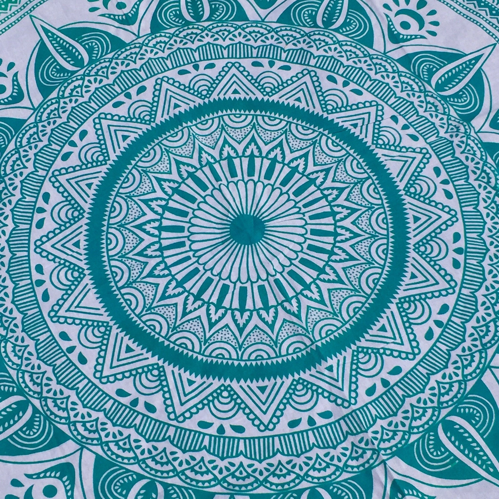 Teal Tapestry with Rainbow Pom Poms - Sparkle Rock Pop