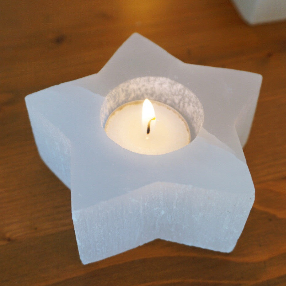Selenite Star Candle Holder - Sparkle Rock Pop
