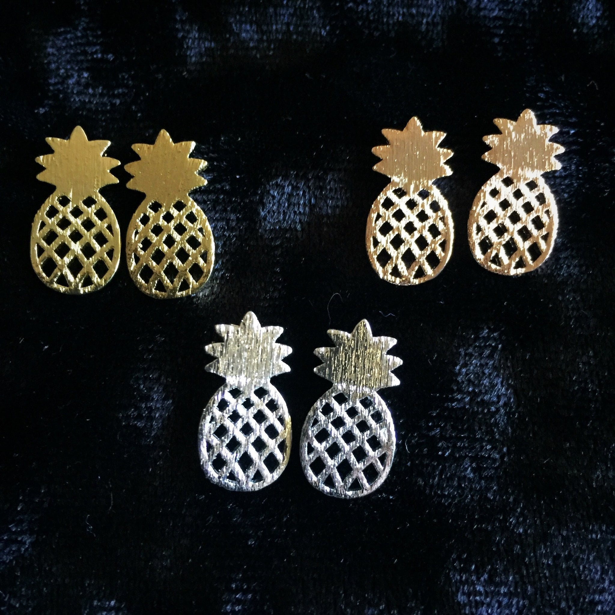 Pineapple Silhouette Stud Earrings (multiple colors) - Sparkle Rock Pop
