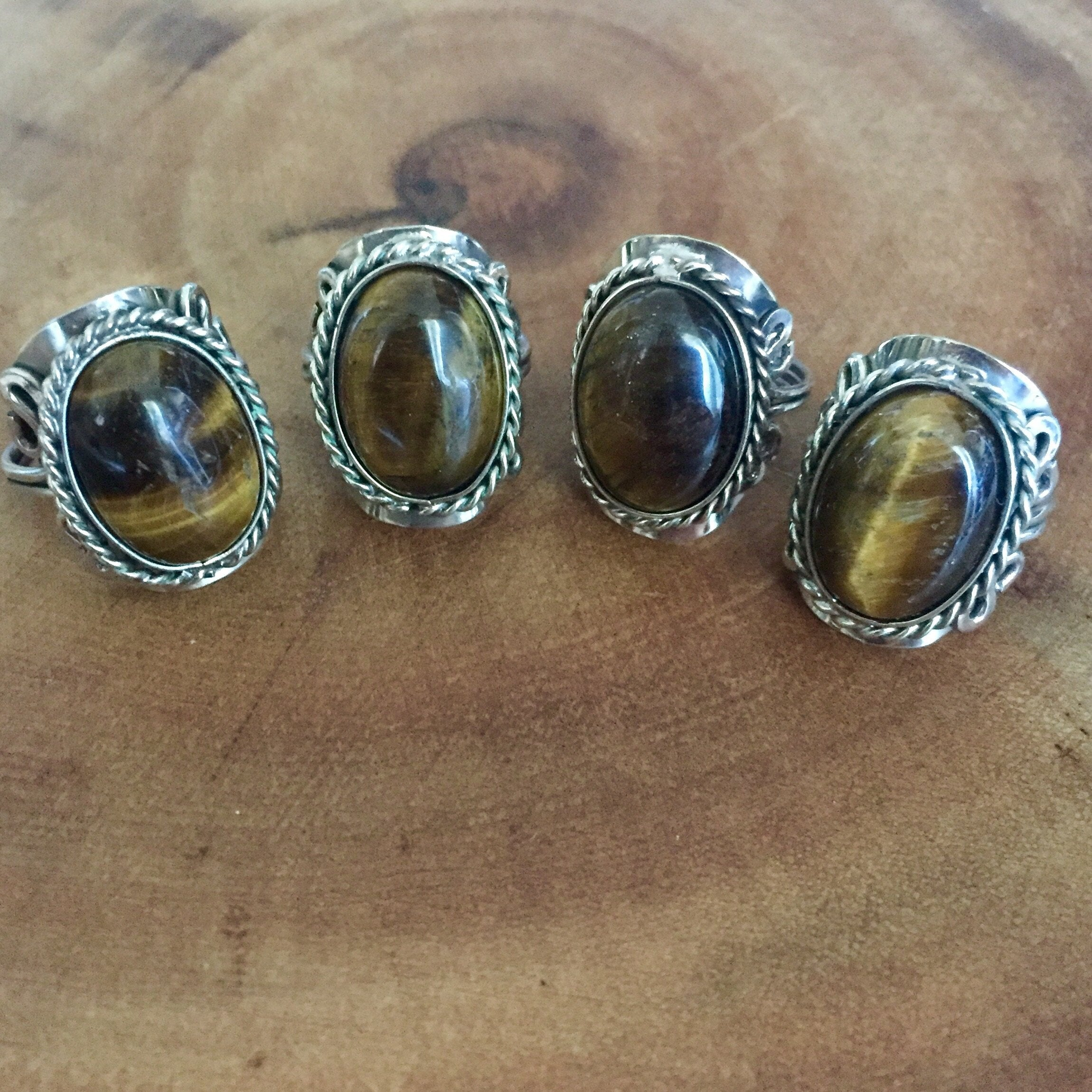 rings ring tigers tateossian gunmetal tiger eye in octagonal with