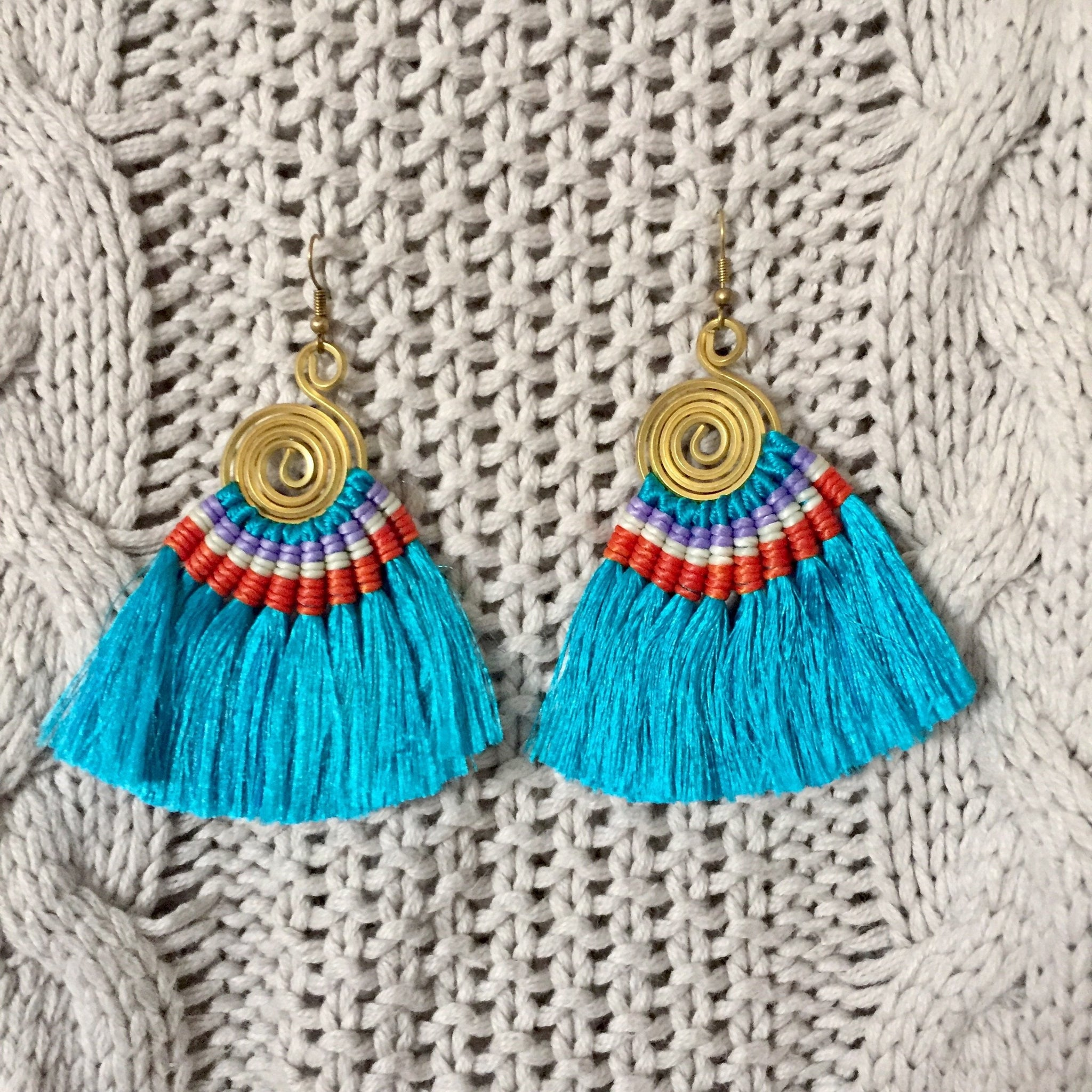 Hula Earrings - Turquoise - Sparkle Rock Pop