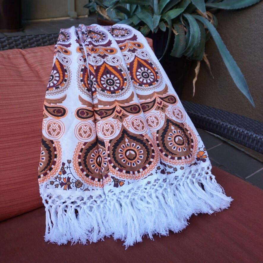 Mandala Tapestry - Orange Mocha - Sparkle Rock Pop